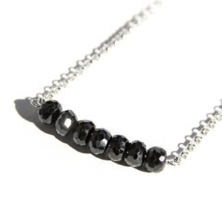 black spinel handmade necklace faceted stone beads on wire bar