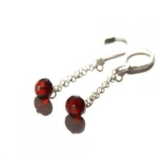 garnet handmade long chain dangle gemstone earrings