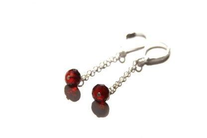 garnet long chain dangle earrings