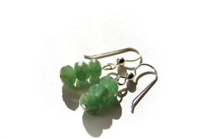 handmade green aventurine natural stone earrings three faceted beads on sterling earwires