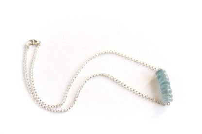 light blue kyanite necklace beads on wire bar with chain handmade jewelry