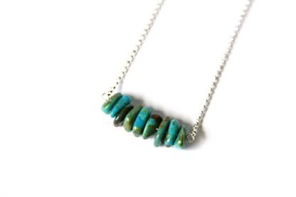 kingman turquoise handmade necklace large polished chip beads sterling silver