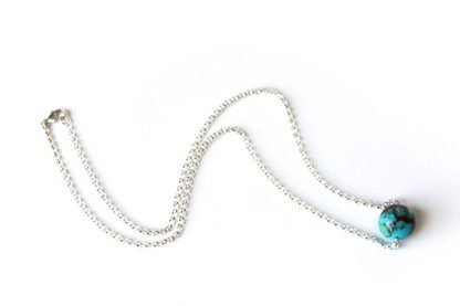 kingman turquoise handmade necklace one round bead sterling silver