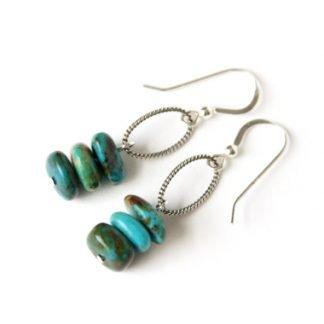 Kingman Turquoise handmade earrings Western Cowgirl Style