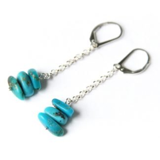Kingman Turquoise handmade earrings chip beads dangle from chain and leverbacks