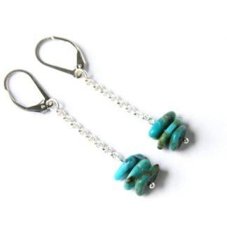 Kingman Turquoise handmade earrings chip beads dangle from chain and leverbacks