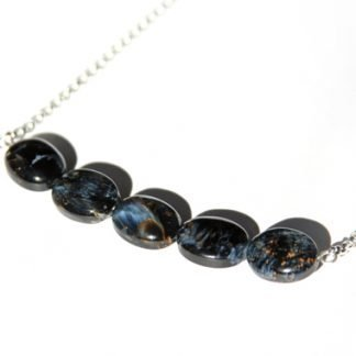 handmade necklace rare blue black pietersite stone beads on sterling chain
