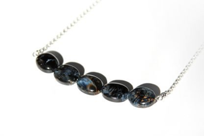 handmade necklace rare blue black pietersite stone beads on sterling chain